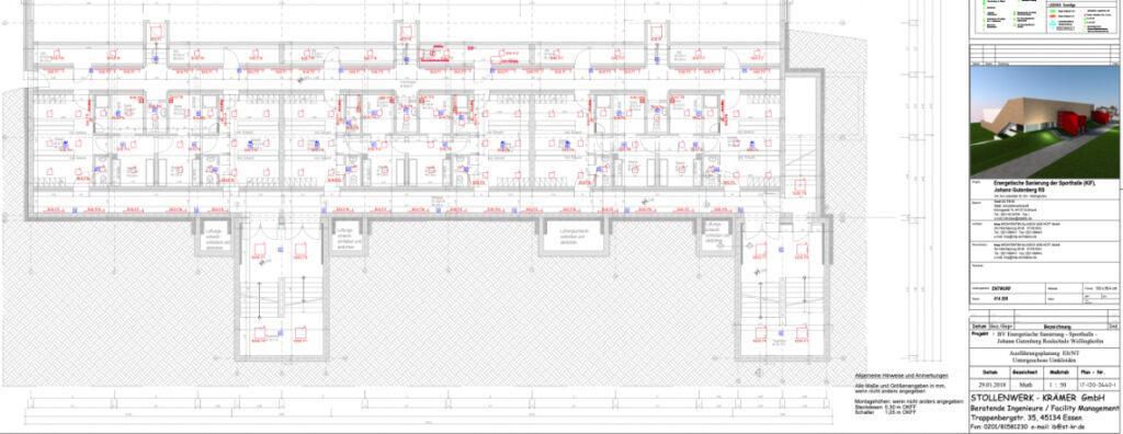Johann von Gutenberg Realschule, Dortmund: Energetische Sanierung einer 3-fach Sporthalle, Erneuerung der Umkleiden und Duschbereiche